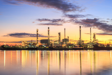 Twilight of oil refinery plant.
