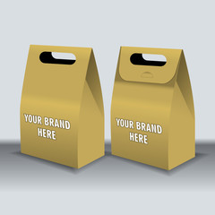 Digital vector recycle brown paper bags mockup, hand held, ready for your logo and design, flat style