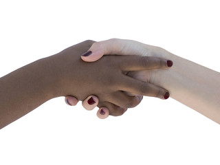 Two women' hands symbolizing love, friendship or solidarity, isolated