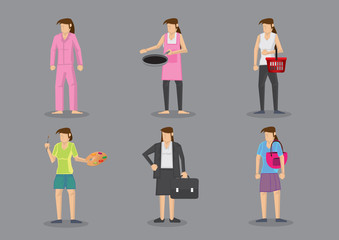Woman in Different Outfits for Different Roles and Responsibilit