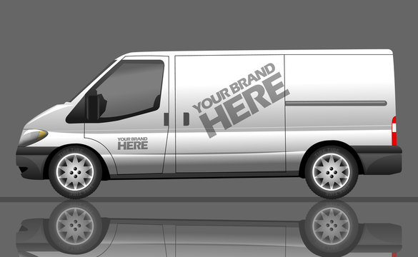 Digital vector silver and white realistic vehicle car bus mockup, ready for your logo and design, flat style