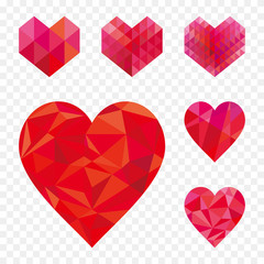 Set of different geometric heart shape.