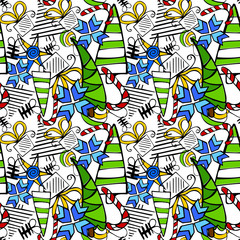 Seamless doodle Christmas themed pattern.