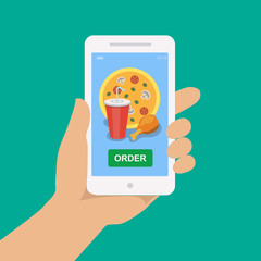 Hand holding smartphone with pizza, cola and chicken on the screen. Order fast food concept. Flat vector illustration.