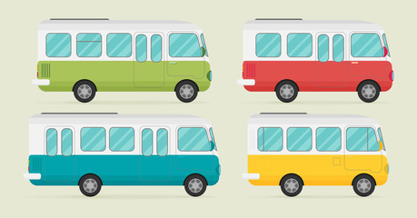 Set of retro bus. Flat vector.