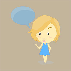 Cartoon cute girl bye, Vector illustration