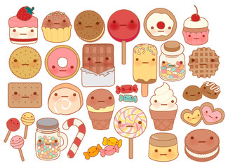 Collection of lovely baby sweet and dessert doodle icon , cute cake , adorable candy , sweet ice cream , kawaii jelly bean , girly cookie in childlike manga cartoon style - Vector file EPS10