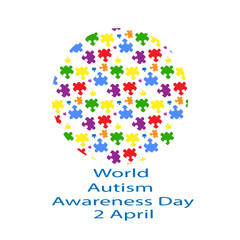 World Day of autism awareness and Globe of colored puzzles on a white background. Symbol of autism.