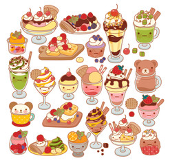Collection of lovely baby sweet dessert doodle icon, cute ice cream, adorable waffle, sweet crepe, kawaii sundae, girly parfait in childlike manga cartoon style isolated on white-Vector file EPS10