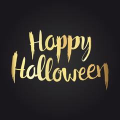 Happy Halloween golden hand drawn lettering