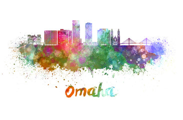 Wall Mural - Omaha V2  skyline in watercolor