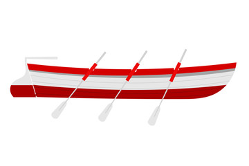 Vector illustration of a rescue boat with wooden oars red on a w