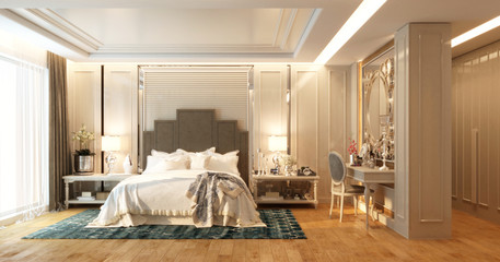 Bedroom interior in classic style.