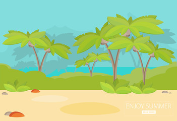 Jungle Forest Green Landscape with sea. Flat vector