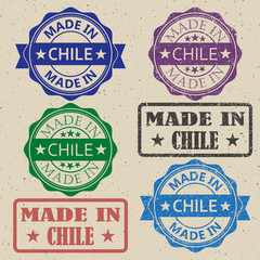 made in Chile red round vintage stamp.Chile stamp set.Chile seal.Chile tag.Chile.Chile sign.Chile.Chile label.stamp.made.in.made in.