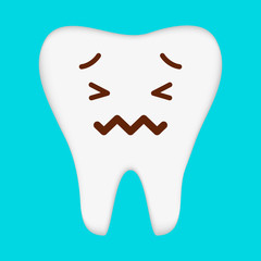 Cute Cartoon Clip Art - Tooth icon with broken and crying face on blue background, EPS 10