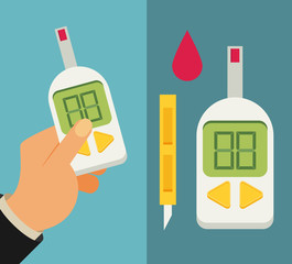 Blood Glucose Test. Diabetes Flat icon set.