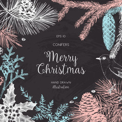 Vintage Design for Christmas Card or Invitation. Vector Frame with Hand Drawn Conifers Sketch. Merry Christmas and Happy New Tear Template