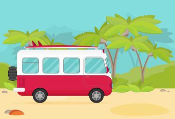 Vector caravan trailer in jungle. Flat style.