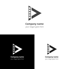 Play music sound button and video movie film strips flat logo icon vector template. Abstract symbol and button with black-grey gradient for music, cinema, television, industrial service or company.