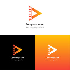 Play music sound button and video movie film strips flat logo icon vector template. Abstract symbol and button with yellow-orange gradient for music, cinema, television, industrial service or company.