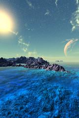 Fantasy alien planet. Mountain and lake. 3D illustration