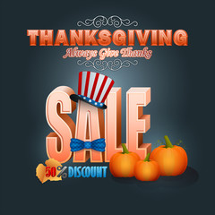 Holiday design with stylized 3d text and pumpkins, for Thanksgiving sales, American commercial event