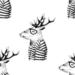 Fototapete - Seamless pattern with dressed up deer