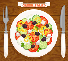 Greek salad on a plate, top view. Mediterranean food is served on a wooden table with a knife, fork and inscription. Vector illustration.
