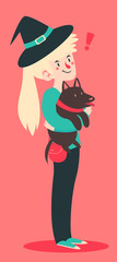 Cute Witch Holding Her Dog