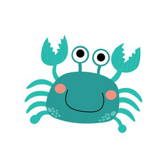 Happy bue Crab animal cartoon character. Isolated on white background. Vector illustration.