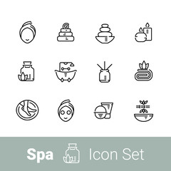 Spa outline icon set of 12 icons
