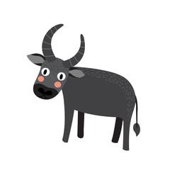 Buffalo cartoon character. Isolated on white background. Vector illustration.