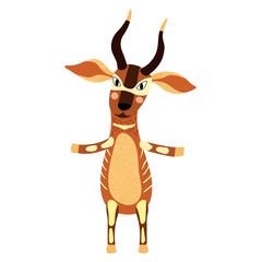 Bongo standing on two legs cartoon character. Isolated on white background. Vector illustration.