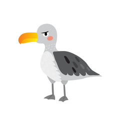 Albatross bird cartoon character. Isolated on white background. Vector illustration.