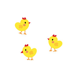Chicks animal cartoon character. Isolated on white background. Vector illustration.