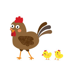 Chicken & Chicks animal cartoon character. Isolated on white background. Vector illustration.