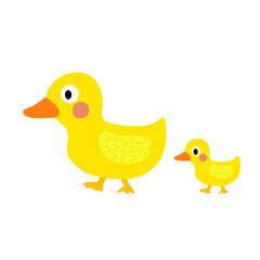 Duck and little duck animal cartoon character. Isolated on white background. Vector illustration.