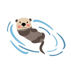 Floating Otter animal cartoon character. Isolated on white background. Vector illustration.