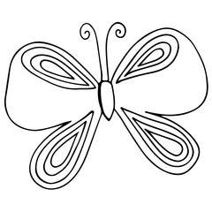 Isolated butterfly for tattoo, coloring book