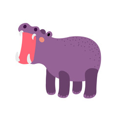 Hippopotamus opening mouth animal cartoon character. Isolated on white background. Vector illustration.