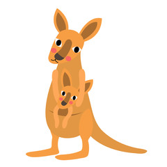 Kangaroo and baby kangaroo animal cartoon character. Isolated on white background. Vector illustration.