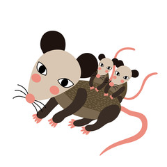 Mother and baby Opossum animal cartoon character. Isolated on white background. Vector illustration.