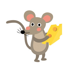 Mouse holding cheese animal cartoon character. Isolated on white background. Vector illustration.