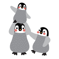 Penguin family animal cartoon character. Isolated on white background. Vector illustration.