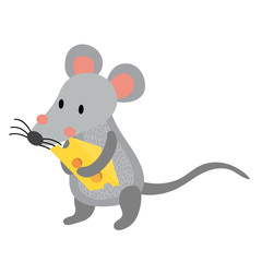 Rat holding cheese animal cartoon character. Isolated on white background. Vector illustration.