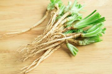 bundle of Coriander roots on wood background, blur