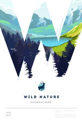 Poster layout template with nature landscape background