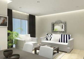 3D render of the building interior, living room with furniture