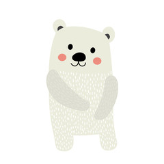 Polar Bear standing on two legs animal cartoon character. Isolated on white background. Vector illustration.